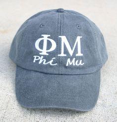Phi Mu with script baseball cap by MegaGreek on Etsy Sorority Outfits, Sorority Life, Phi Mu, Alpha Phi, Frat Girls, Delta Chi, Big Little Gifts, Chi Omega, Cute Hats