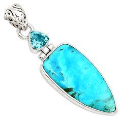Sleeping Beauty Turquoise 925 Sterling Silver Pendant Jewelry 8142P - JJDesignerJewelry