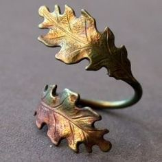 Gorgeous oak leaf wrap ring. Hand-oxidized art in brass. A season or two too soon? Maybe. But nature is always in style.