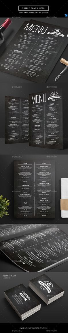 Simple Black Menu - Food Menus Print Templates | https://graphicriver.net/item/simple-black-menu/20599117?ref=sinzo