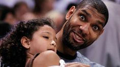 Tim Duncan with his daughter