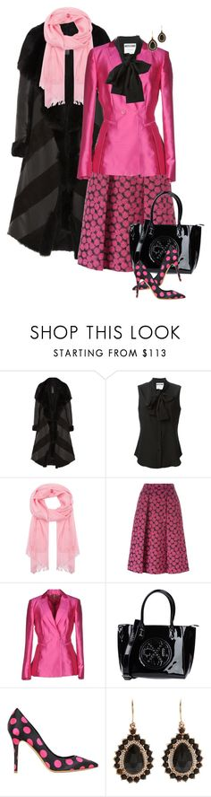 """""""Hot Pink & Black"""" by franceseattle ❤ liked on Polyvore featuring Gareth Pugh, Moschino, Johnstons of Elgin, MICHAEL Michael Kors, Dondup, Christian Lacroix, Semilla and Irene Neuwirth"""
