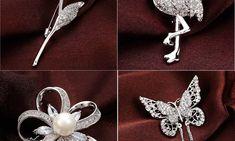 Accesoriu sub forma de brosa pentru femei moderne, cu imitatii de perle si zirconiu