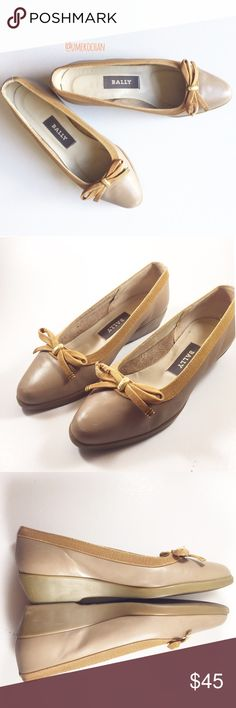 """Darling Belle Vintage Bally Shoes High quality/made in Italy. About an 1"""" heel so comfortable. Gold hardware. Rubber soles. Hard to find size. Very good true vintage condition with some signs of age/wear: slight fray on left bow, slight minor scuffing at toe points and very slight wear to heels. Please feel free to ask any questions :) Sorry, no trades. Bally Shoes"""