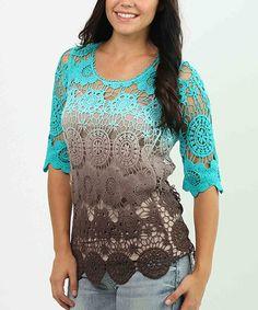 Look what I found on #zulily! Brown & Turquoise Dip-Dye Crochet Top - Women #zulilyfinds