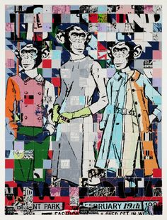 """Faile, just released this new print titled """"Fashion Chimps NYC. New York Street Art, Street Art Love, Street Art Graffiti, Collage Portrait, Collage Artwork, Famous Street Artists, New Print, Monster, Public Art"""