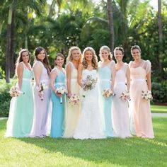 The bridesmaids at this Caribbean wedding wore long, airy dresses in complementary pastel hues Pastel Bridesmaid Dresses, Prom Dresses, Bridesmaids, Formal Dresses, Wedding Dresses, Beach Wedding Attire, Wedding Wear, Caribbean, Pretty