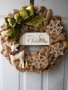 Burlap Christmas Wreath with Merry Christmas by ChloesCraftCloset, $43.00