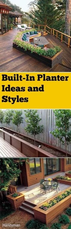 Built-in planter boxes and landscape ideas. Gorgeous planter box ideas with built-in garden boxes. Lots of fun ideas, projects and tutorials. by rachelpp