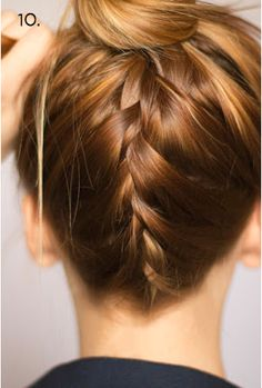 Braid up the back  -Section out a section of hair that goes from ear to ear and down to the base of your neck.  -Clip the top and sides aside for later.  -Flip your head upside down, smooth the hair upwards and flat, and do a french braid up the back.  -Once the braid is complete, combine it with the rest of your hair and put it in a ponytail as you normally would.