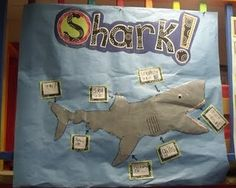 Literacy center for ocean unit. Students can label shark pictures.