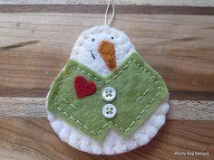 All Natural Cotton Batting Snowman Light Green Wool Felt