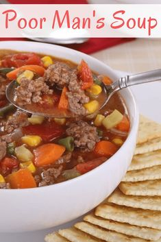 Recipe for the poor man& soup. The poor man& soup recipe is a simple . Easy Soup Recipes, Beef Recipes, Cooking Recipes, Recipies, Cooking On A Budget, Budget Meals, Budget Recipes, Food Budget, Frugal Meals