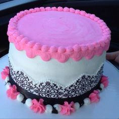 Pink and black damask birthday cake with white cake and vanilla buttercream by Steve's Creative Cakes in Fayetteville, NC