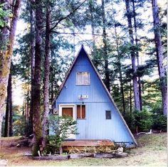Little a-frame cabin in the woods. Tiny Cabins, Tiny House Cabin, Cabins And Cottages, A Frame Cabin, A Frame House, Little Cabin, Little Houses, Tiny Houses, Cozy Cabin