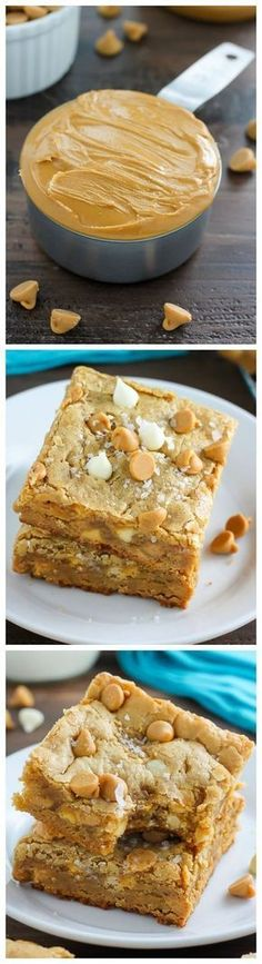 Thick and Chewy White Chocolate Peanut Butter Blondies. So good with a cup of coffee! #cookiebarrecipescups