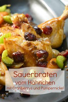 Sauerbraten vom Hähnchen - Ein Klassiker in neuem Gewand: Hähnchen als Sauerbraten mit Cranberrys | Kalorien: 415 Kcal - Zeit: 1 Std. | http://eatsmarter.de/rezepte/sauerbraten-haehnchen