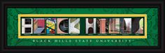 Black Hills State University Officially Licensed Framed Letter Art