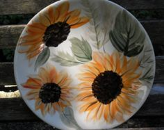 sunflower plates on Etsy, a global handmade and vintage marketplace.