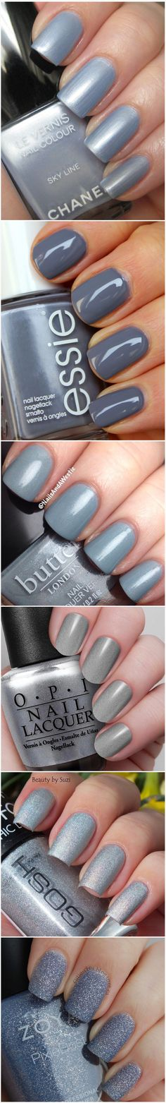 Grey nail swatches -- Chanel, Butter London, OPI, Zoya, Essie,