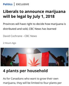 Read the whole article at @cbc  The government will announce legislation next month that will legalize marijuana in Canada by July 1 2018. . CBC News has learned that the legislation will be announced during the week of April 10 & will broadly follow the recommendation of a fed. appointed task force that was chaired by former liberal Justice Minister Anne McLellan. . Bill Blair the former Toronto police chief who has been stickhandling the marijuana file for the gov't briefed the Liberal…