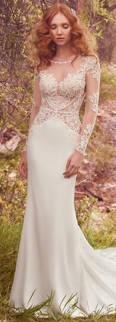 Wedding Dress by Maggie Sottero 2017 | alluring sheath features an illusion bodice adorned with beaded lace appliqués that create an illusion sweetheart neckline and accent the shoulders, long sleeves, and cuffs | @maggiesottero #maggiesottero #maggiebride