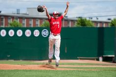 Masco relief pitcher Speros Varinos rejoices after getting the final out against Danvers in the Division 2 North championship game at Lowell's LeLacheur Park June 9. Masco won, 5-2.
