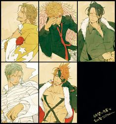 One Piece, Gild Tesoro, Doflamingo, Sir Crocodile, Smoker, X Drake