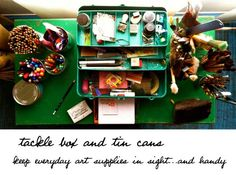 turquoise tackle box beautifully contains art supplies I use every day for visual journaling `Lisa Sonora Beam