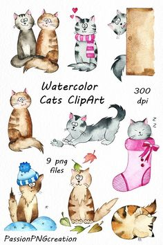 Watercolor Cats Clipart by PassionPNGcreation on @creativemarket