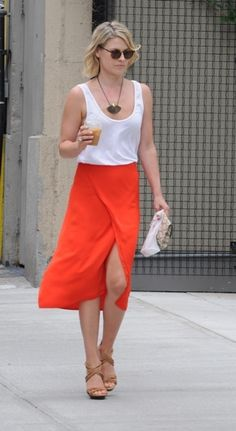 Ali Larter | orange wrap skirt + neutral basics