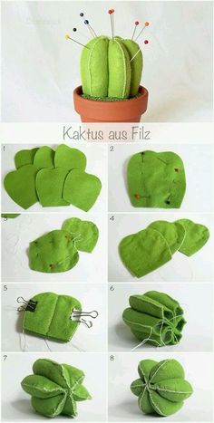 Cactus sewing pattern and sewing tutorial. Very cute cactus to decorate. For more sewing patterns, sewing tips and sewing tutorials visit http://you-made-my-day.com/ Cute Sewing Projects, Diy And Crafts Sewing, Felt Crafts Diy, Sewing Diy, Learn Sewing, Skirt Sewing, Felt Crafts Patterns, Felt Diy, Sewing Projects For Beginners