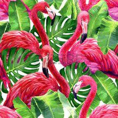 패턴: 핑크 플라밍고, 몬스 테라의 잎, 팜 리프. 원활한 열대 여름 패턴. 이국적인 섬유.