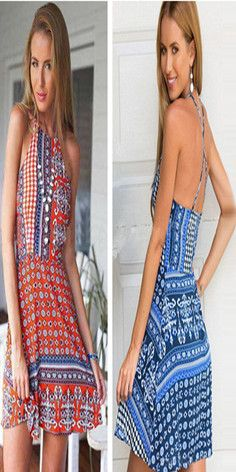 Sexy Backless Floral Print Sling Dress #beauty