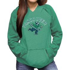 Original Retro Brand Vancouver Canucks Women's Relaxed Pullover Hoodie - Green