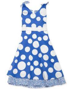 NEW RARE EDITIONS GIRLS POLKA DOT DRESS SLEEVELESS PERIWINKLE BLUE SIZE 7 #RAREEDITIONS
