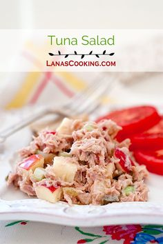 Tuna Salad made with diced, crispy apple and sweet pickle relish. From @NevrEnoughThyme http://www.lanascooking.com/tuna-salad