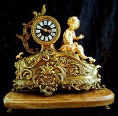 Antiques 19thC mantel clock Baroque France Bronze statue PUTTI Versailles Onyx
