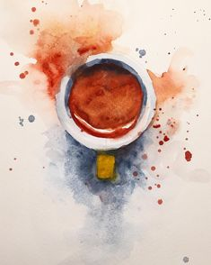 Watercolor espresso coffee painting by Jiri Zraly