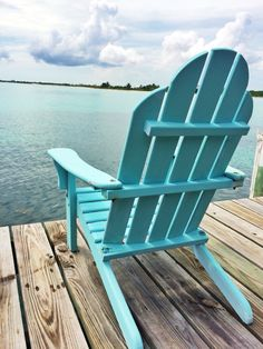 This had me at ocean, the chair color is a bonus! Luxury Living, Coastal Living, Coastal Homes, Outdoor Chairs, Outdoor Decor, Adirondack Chairs, Cottages By The Sea, Blue Beach, Summer Colors
