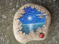 moonlight over water and a little ladybug - painted rock. Pebble Painting, Pebble Art, Stone Painting, Stone Crafts, Rock Crafts, Arts And Crafts, Hand Painted Rocks, Painted Stones, Painted Pebbles