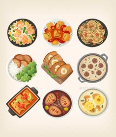 Homemade Dinner Dishes by moonery Closeup of classic dinner menu at home Italian restaurant. Including pasta, Top view on classic homemade dinner dishes and ingredi Traditional French Desserts, Dinner Dishes, Dinner Menu, Cute Food Drawings, Food Cartoon, Colorful Vegetables, Food Wallpaper, Food Icons, Tapas