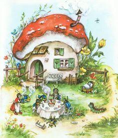NOT Fritz Baumgarten but Lore Hummel / Wiesengeschichten / Mushroom Art, Mushroom House, Fairytale Art, Fairy Art, Children's Book Illustration, Whimsical Art, Cute Drawings, Cute Art, Vintage Art
