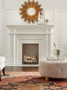 Make a style statement above the fireplace. Our Sole Mirror is gorgeous in gold and really dresses up a fireplace mantel.
