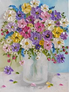 Custom Wildflower Oil Impasto Painting, Impressionistic Oil Floral Painting Oil impasto wildflower painting to make your home feel like summer! Small Paintings, Beautiful Paintings, Floral Paintings, Paintings Of Flowers, Drawing Flowers, Art Floral, Tulip Painting, Textured Painting, Acrylic Painting Flowers