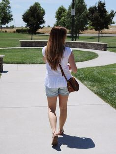summer style, summer fashion, summer outfit, denim shorts, white peplum top