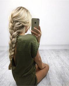 Hair goals braid green jumpsuit