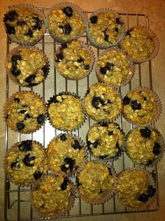 Healthy Blueberry Oatmeal Muffins :-)    3 ripe bananas (mashed)  2 eggs  3 cups oatmeal  1 cup vanilla almond milk (unsweetened)  1 tsp vanilla extract  1 tbsp baking powder  1 cup frozen blueberries  **I added 1 scoop of Casein powder for more protein    Bake at 375 for 25-30 min.    Makes 16 muffins.  Cal: 90; Protein: 4.5g; Fat: 1.6g; Carbs: 14g
