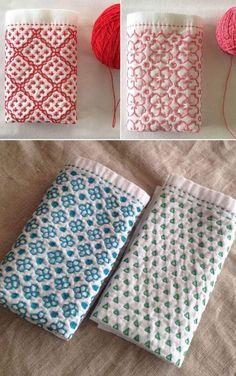 Sashiko Embroidery, Japanese Embroidery, Hand Embroidery Designs, Cross Stitch Embroidery, Embroidery Patterns, Crochet Patterns, Japanese Quilts, Blackwork, Hand Stitching