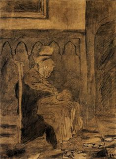 Old Woman Asleep after Rops Vincent van Gogh 1873  Genre: genre painting Tags: leisure-and-slee...
